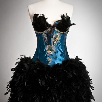 Custom Size Burlesque turquoise and black Peacock feather corset dress