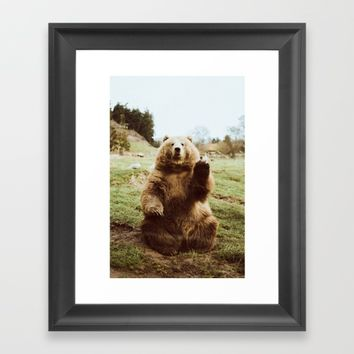 Hi Bear Framed Art Print by beccatapert