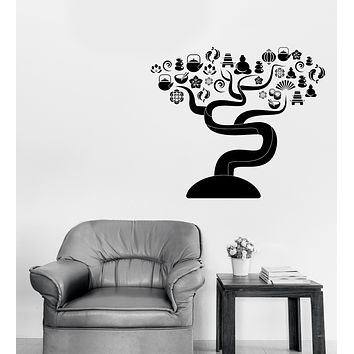 Wall Sticker Vinyl Decal Tree with Zen Yoga Icons Art Decor Unique Gift (n1151)