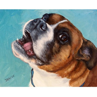 "Boxer Dog Art 11x14 Print by Dottie Dracos ""Brown and White Happy Boxer on Turquoise"""
