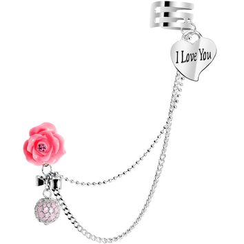 Pink Rose Faux Pink Pearl I Love You Heart Ear Cuff Chain Post Earring