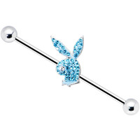 Playboy Aqua Crystal Rabbit Head Industrial Barbell | Body Candy Body Jewelry
