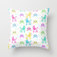 Pastel Poodles Throw Pillow by Lisa Argyropoulos
