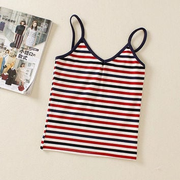 Fashion Crop Top Stripes Stylish Striped Female Camisole Vest [4919452804]
