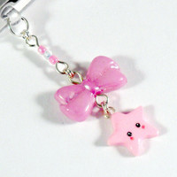 Kawaii Lolita Bow & Star Dust Plug Charm, For iPhone or iPod, Phone Plug, Cute :D