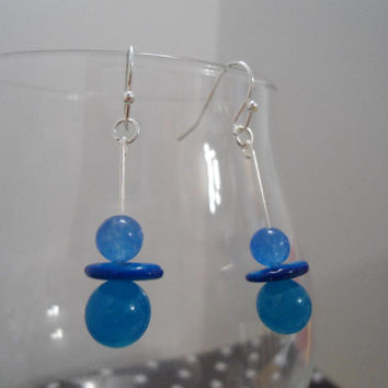 Blue Grace: Blue Earrings, Shell Earrings, Teal Earrings, Turquoise Earrings, Chalcedony Earrings, Aquamarine Earrings, Ambre Earrings