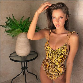 Fashion Leopard Print V-Neck Backless Hollow Bandage Strap One Piece Swimwear Bikini Swimsuit