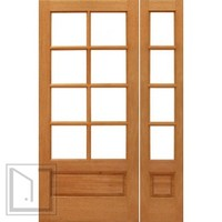 Prehung 8-lite French Brazilian Mahogany Wood 1 Panel IG Glass Side light Door