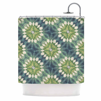 "Art Love Passion ""Forest Leaves Pattern"" Green Geometric Shower Curtain"