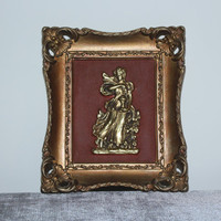 Vintage gold ornate framed Roman figure wall decor, wall art, wall hanging, Turner decor