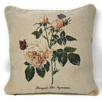 Tache Golden Summer Rose Throw Pillow Cushion Cover