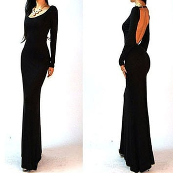 Women Long Sleeve Bandage Bodycon Backless Evening Sexy Party Cocktail Long Dress F_F = 1902128196