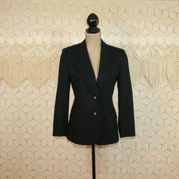 90s Pendleton Black Wool Blazer Jacket Petite Medium Womens Jackets Fitted Jacket Fitted Blazer Womens Blazer Wool Jacket Vintage Clothing