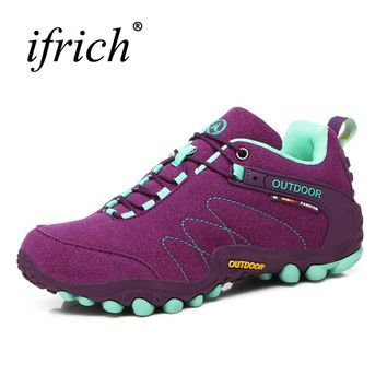 2019 Hiking Shoes Women Trekking Boots Autumn/Winter Outdoor Shoes Women Climbing Sneakers Leather Sport Shoes Red/Purple Boots