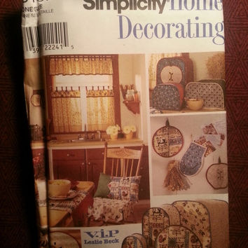 Uncut 1998 Simplicity Sewing Pattern, 8437! Home Decor/Kitchen Accessories/Window Treatment/Mixer Covers/Place Mats/Potholders/Hot Pads