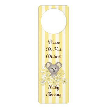 Cute Baby Koala Yellow Stripes Personalized Door Knob Hangers