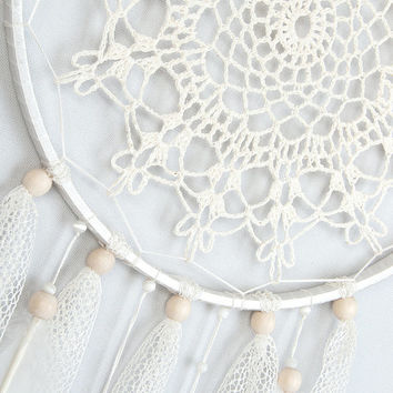 Cream Dream Catcher Crochet Doily Dreamcatcher large dreamcatcher boho dreamcatchers wedding decor wall hanging wall decor