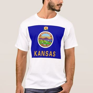 T Shirt with Flag of Kansas State USA