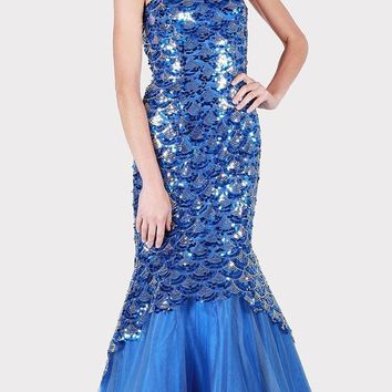 Royal Blue Sequins Mermaid Prom Gown Strapless