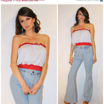 Vintage 70s TUBE TOP, Draped Dazed and Confused Top, Red LACE Ribbed Casual Strapless Tee