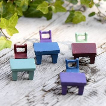 Min order $5,artificial chair and table Ornaments miniatures for fairy garden gnome resin crafts bonsai bottle garden decoration