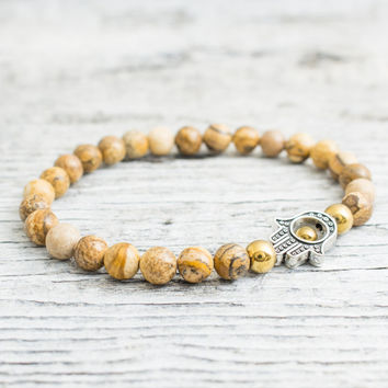 Jasper stone beaded stretchy silver Hamsa hand bracelet with gold plated hematite beads, yoga bracelet, mens bracelet, womens bracelet