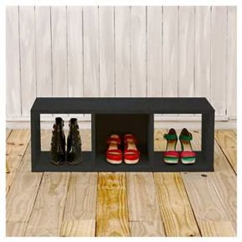 Way Basics Eco 3 Cubby Storage Bench - Stackable Cube Organizer - Black Wood Grain
