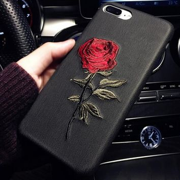 Embroidered roses Iphone6s mobile phone shell 7PLUS  soft shell