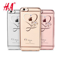 Ultra Thin Clean Soft TPU Case For iphone 6 4.7inch Crystal Phone Plating Glitter Diamond Cases For iphone 6S Cover