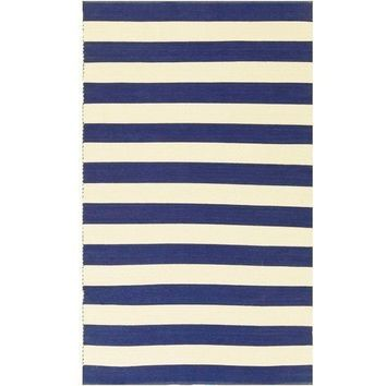 Port Cotton Blue Stripe Rug