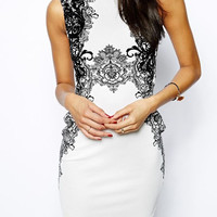 White Sleeveless Floral Embroidered Bodycon Mini Dress