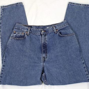 Levi Strauss 550 Womens Blue Denim Jeans Size 14 M Relaxed Fit Tapered Leg