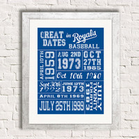 Important Dates in Sports History - Kansas City Royals - Sports Art Print Customized Gift Memorablia