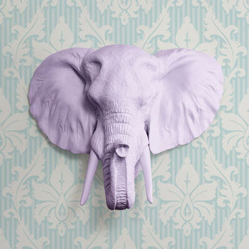 The Large Savannah Lavender Faux Taxidermy Resin Elephant Head Wall Mount   Lavender Elephant w/ Colored Tusks