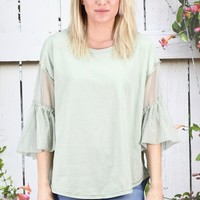 Mesh Ruffle Sleeved U-Hem Top {Sage}