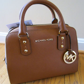 Michael Kors Luggage Saffiano Leather Small Satchel Purse Handbag Bag CHARM NWT