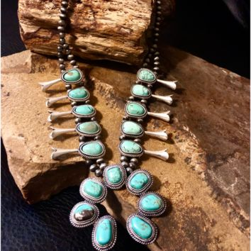 Medium Full Squash Blossom Natural Turquoise Necklace