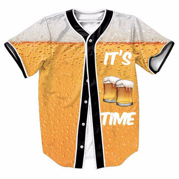 It's Beer Time Jersey Women Men Hipster 3D Prints Hip Hop Top Streetwear Swag t shirt Male Baseball Tees Buttons Overshirt