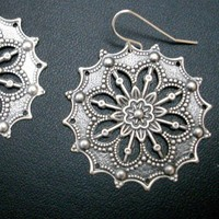 Large Antiqued Silver Filigree Earrings | bargainbling - Jewelry on ArtFire
