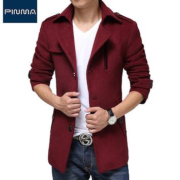 Winter clothes Slim fit Male Thick Red jacket Mens Trench Coats Streetwear cotton Outerwear long woolen cloth coat masculino 317