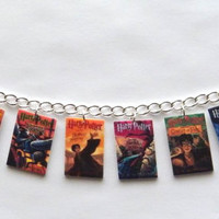 Harry Potter Book Cover Charm Bracelet   Voldemort  Deathly Hallows, Hogwarts, Half Blood Prince
