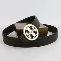 Perfect Tory Burch Woman Men Fashion Smooth Buckle Belt Leather Belt