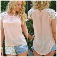 Rockland Peach Lace Sleeve Top
