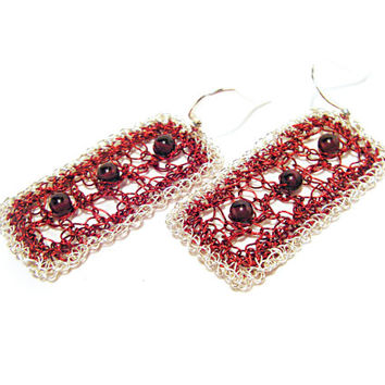 Garnet earrings Dark cherry Burgundy Crochet Lace wire earrings Bohemian Geometric Israeli jewelry