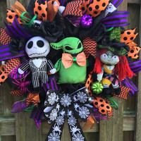 Halloween Mesh Wreath, Nightmare Before Christmas Wreath, Jack Skellington Wreath, NMBC Wreath, NMBC Halloween Wreath, Halloween Mesh Wreath