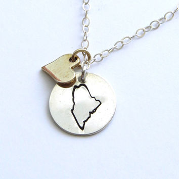 Stamped State Necklace with Bronze Heart in Sterling silver All States Available State Jewelry U.S. Necklace Heart Personalized Hand Stamped