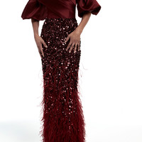 Off The Shoulder Gown With Feather Embroidery   Moda Operandi