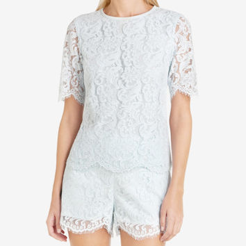 Scalloped edge lace top - Light Blue | Tops & T-shirts | Ted Baker ROW