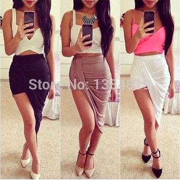 Sexy Fashion  Solid High Low Wrapped Elastic Waist Asymmetrical Skirt Draped Cut Out Skirt