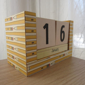 Perpetual Wooden Block Calendar - Pencils - Great Male Teacher Gift